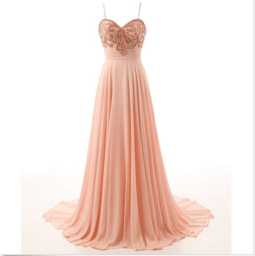 Long Peach Prom Dresses with Straps